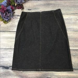 LOFT stretch denim pencil skirt black size 4